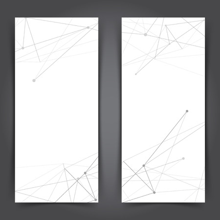 Minimal connection lines web vertical banner template collection. Vector illustration