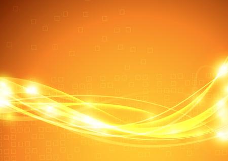 Leuchtend orangefarbener Hintergrund mit transparentem futuristischem Wellendesign. Vektor-Illustration