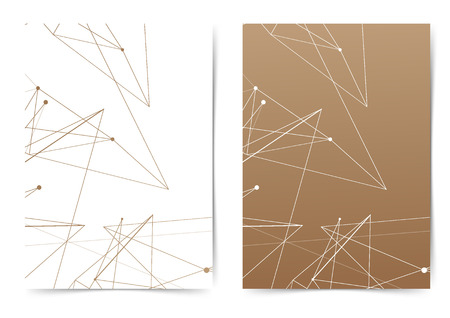Thin white and brown gradient line pattern folder collection. Vector illustration 일러스트