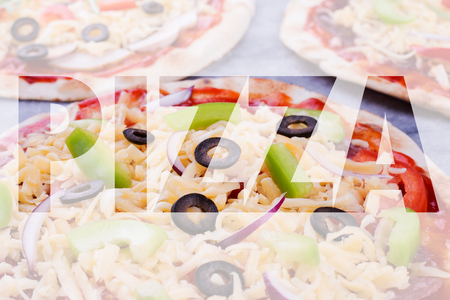 Word from photo of pizza. Conceptual collage in form of word pizza