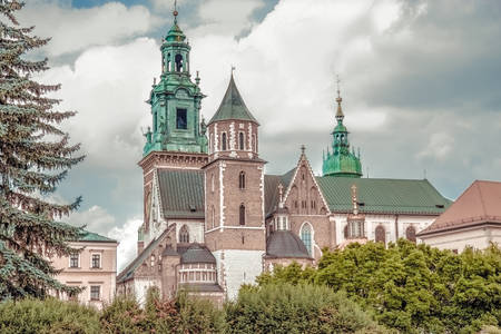 Beautiful cathedral and flowers. St. Stanislaus and Wenceslas Cathedral, Krakow, Poland