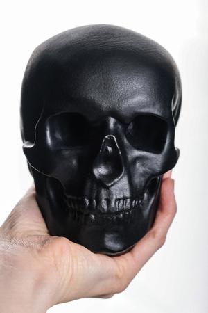 Black skull in hand on white background. Decorative halloween skull isolate Imagens
