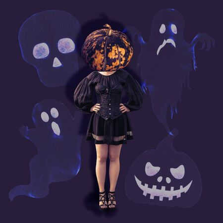Gothic girl in black dress with pumpkin head. Contemporary art collage