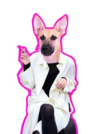 Illustration of smoking dog on white background. Contemporary art collage with details Imagens