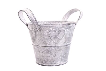 Old gray retro flower pots isolate on white background Banco de Imagens
