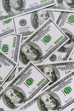 Background with money american hundred dollar bills close-up