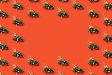 Big green cone of marijuana closeup on bright orange background with place for text