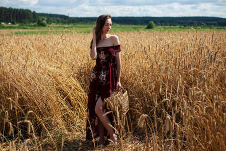 Beautiful young woman in a dress stands with a basket in a wheat field