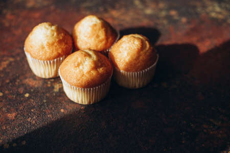 Beautiful tasty muffins on a dark background with a shadow and place for text Stok Fotoğraf