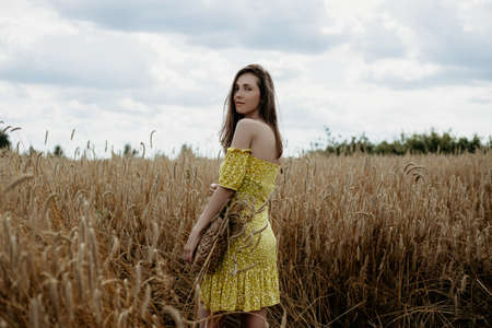 Beautiful young woman in yellow dress stands with a basket in a wheat field Stok Fotoğraf
