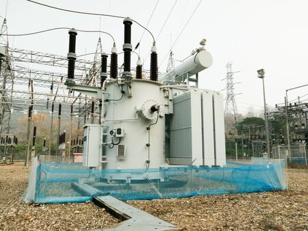 substation: Animal protection nets into power substation Stock Photo