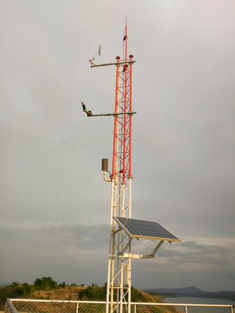 gust: Devices meteorological station on the blue background of the sky Stock Photo