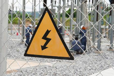 high voltage warning sign on high-voltage substation