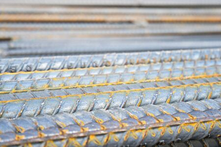 Background texture of steel rods used in construction