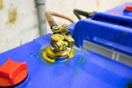 soft focus,Corrosion build up on car battery terminals