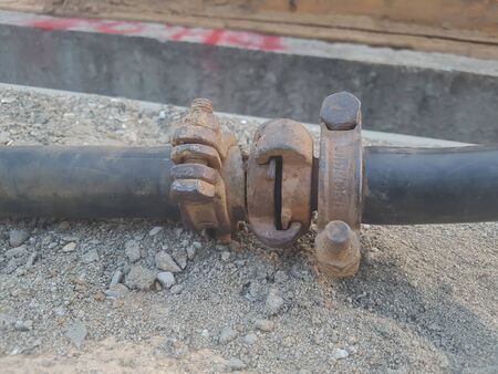 Connected hydraulic pressure pipes system Archivio Fotografico