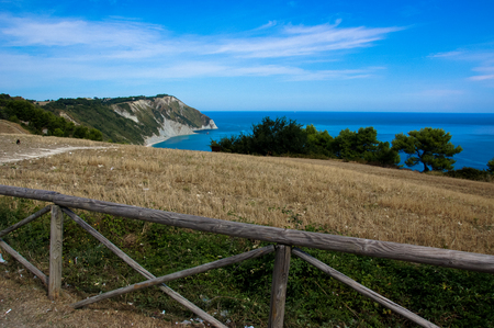 View of the Adriatic coast in the Marche region of Italy. Beach called Mezzavalle near the town of Ancona. Stock Photo