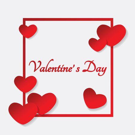 Papier Valentines Herzen Rahmen, Vektor-Illustration