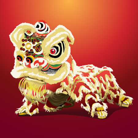 chinese lion cartoon,vector illustration
