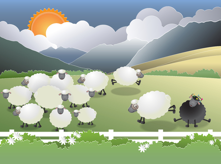 conformity: Flock of sheep on green field, a black sheep in the family, paper cutting style, vector illustration