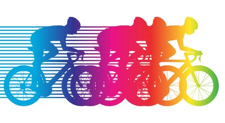 vectro: colorful bicycle riding, group of cyclists, road bike flat design, vectro illustration