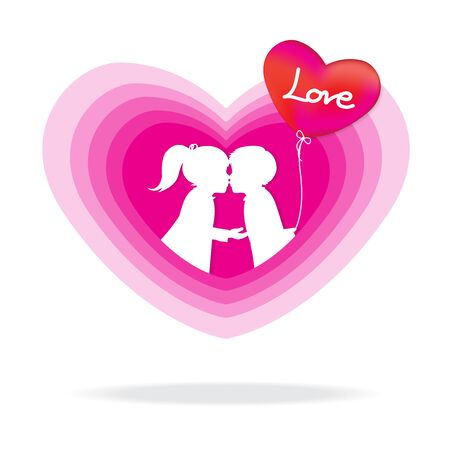 the boy with a balloons kissing the girl on sweet heart-shaped , heart and love icon, vector illustration