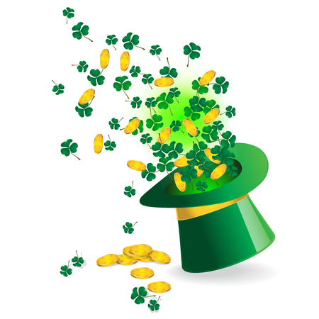 shamrock leaves and Golden coin coming out from the magic hat. Image for Saint Patrick's Day. Green clovers leaves and coin design. Vector illustration.