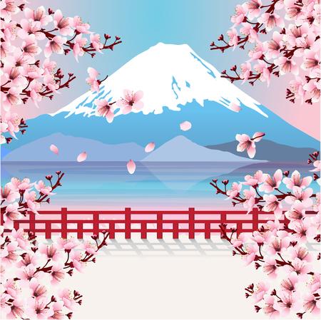 桜の枝を持つ山。富士山と桜の花と湖の眺め。日本のイメージ。ベクトルの図。  イラスト・ベクター素材