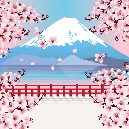 Mountain with cherry blossom branches. View of Fuji mountain and lake with sakura flowers. Image of Japan. Vector illustration. Ilustração