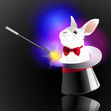 Magic hat with rabbit. The magic wand make a little bunny come out from the magic hat. Illustration