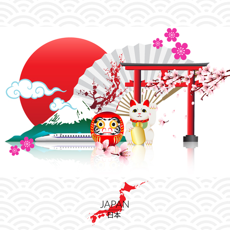Attraction of Japan, abstract styled decorative traditional Japanese background. Vector illustration. Illustration