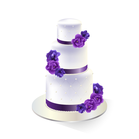 Traditional white tiered wedding cake decorated with purple flowers traditional white tiered wedding cake decorated with purple flowers vector illustration stock vector mightylinksfo