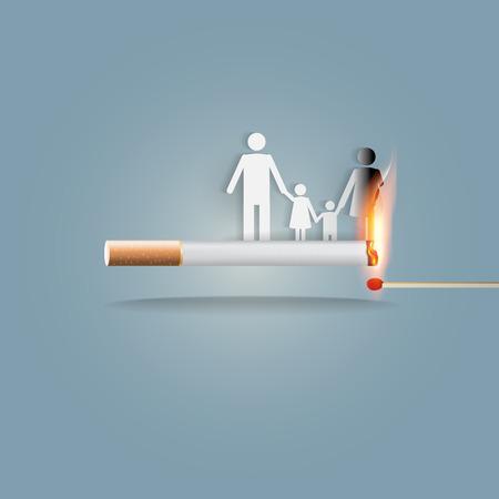 世界ない禁煙デー 5 月 31 日、喫煙を止めるのためのコンセプト。タバコを吸う家族の皆を殺すことができます。ベクトル illlustration。