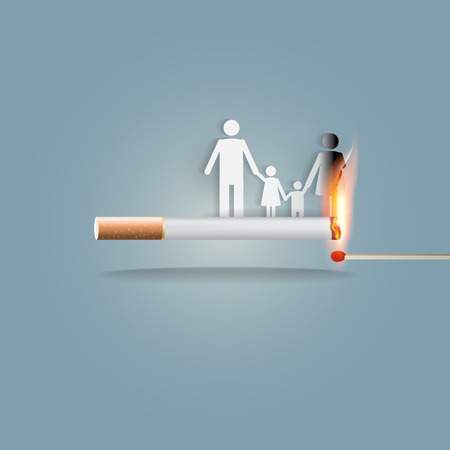 World no tobacco day, 31st May, a concept for stop smoking. Smoking a cigarette can kill everyone in family. Vector illlustration.