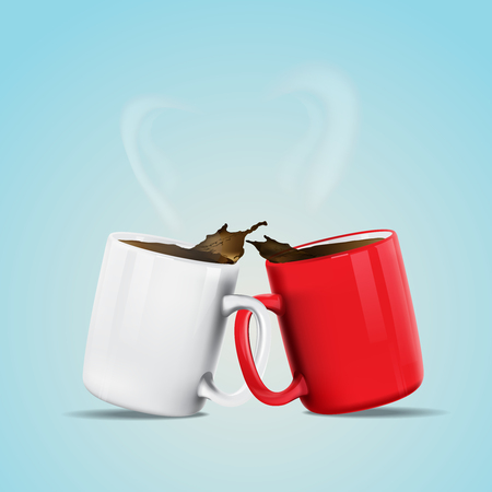 hot couple: Vector illustration of coffee lover concept, red and white coffee mug are together with smoke.