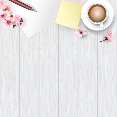 cherry wood: White wooden table from top view with copy space. White painted table top decorated with cherry blossoms branch, flowers, pen, coffee cup, paper and yellow memo pad. Vector illustration for relax time.