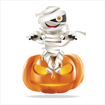 Character of mummy zombie sittiing on halloween pumpkin. Vector illustration for Halloween festival.