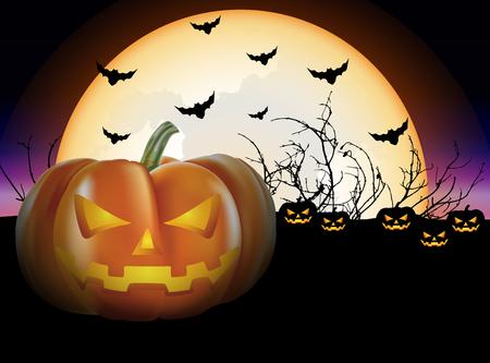 Halloween pumpkin on full moon night background. Vector illustration for Halloween festival. Illustration