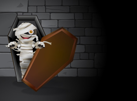 undead: Mummy zombie is haunting in the dark tomb. Living in a coffin and stones wall as background vector illustration for Halloween.