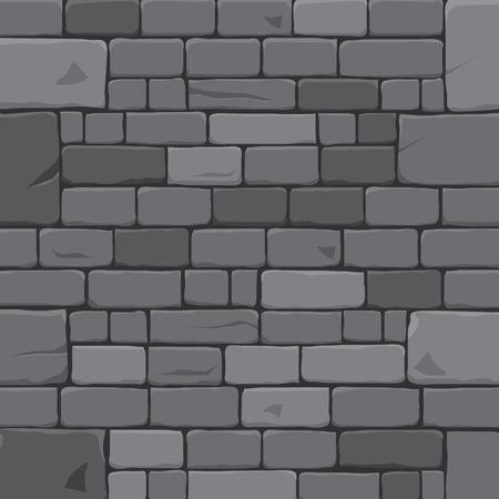 Ancient stone block wall. Grey brick wall background vector illustration.