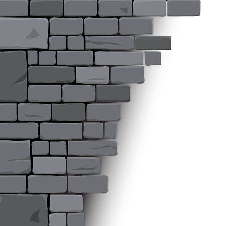 Ancient stone block wall, Grey brick wall on white background. Vector illustration.