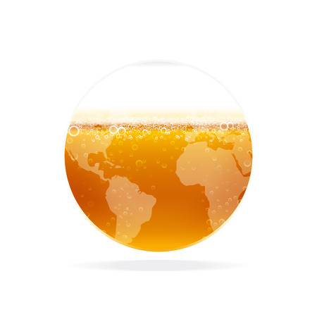 Beer with foam, bubbles in glass globe. Vector illustration for international beer day.
