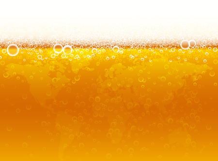 Background of beer with foam, bubbles and world map. Vector illustration for international�beer day.