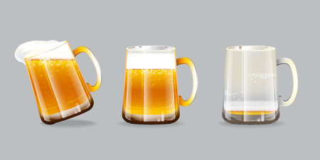 Vector illustration of beer glasses. One overflow mug, one full mug and one empty mug with foam and bubbles on grey background. Çizim