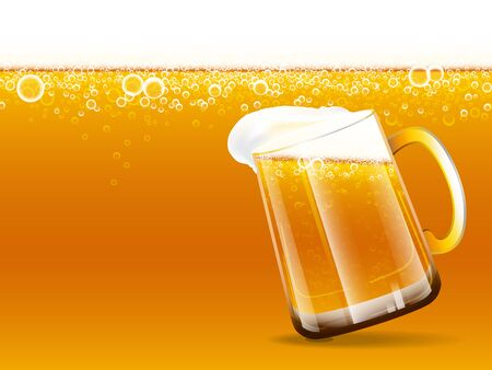 Background of beer and overflow beer glass with foam and bubbles. Vector illustration. Çizim