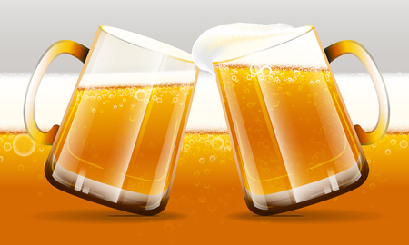 Two mug of beer are clinking on beer background with foam and bubbles. Vector illustration.