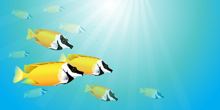 A vector illustration of beautiful yellow fish herd, yellow fox face or rabbitfish, in blue sea with bubbles and light. Illustration