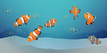 Herd of clown fish or clown anemone fish under the blue sea with air bubbles and sand. Vector illustration.