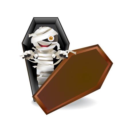 Mumia charakteru zombie w trumnie na białym tle. Ilustracji wektorowych.