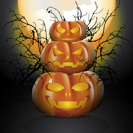 Three Halloween pumpkins in moon light with the big full moon and decorated with silhouette of dry twigs. Illustration